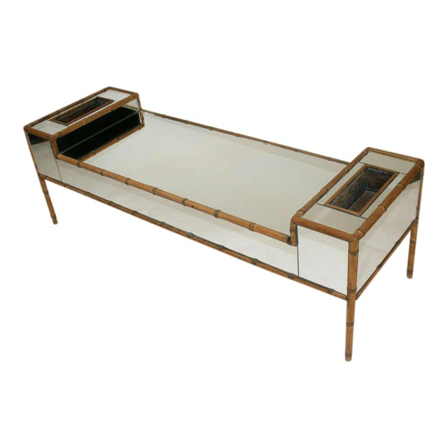 Hollywood Regency Faux Bamboo Mirrored Coffee Table For Sale