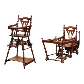 Mid-20th Century French Carved Folding Up and Down Child High Chair on Wheels For Sale