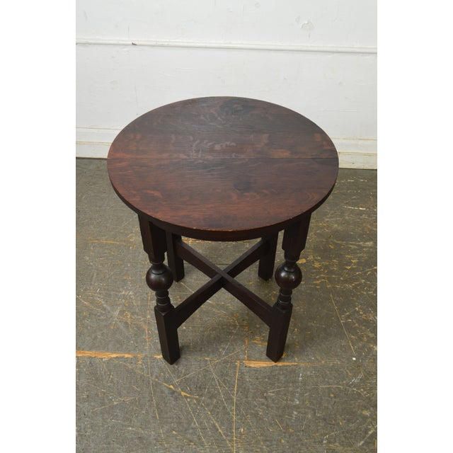 Arts & Crafts Style Antique Round Oak Drinks Table Stickley Era For Sale - Image 9 of 13