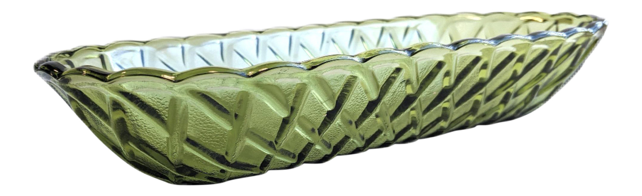 Indiana Glass Co Basket-Weave Glass Gondola Dish in Avocado Green