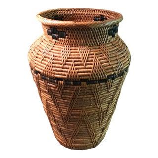 20th Century Vintage Boho Woven Basket Jar Vase