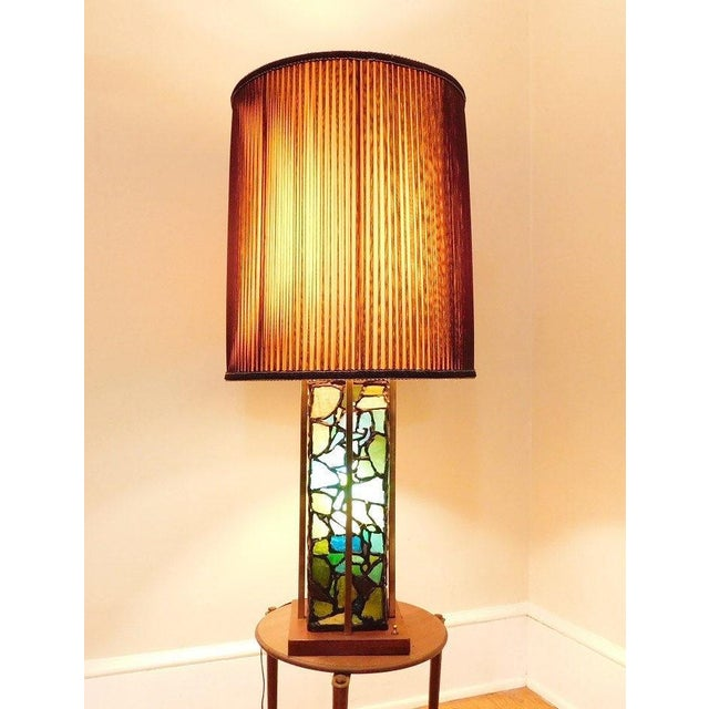 Mid-Century Brutalist Stained Glass & Brass Lamp For Sale - Image 5 of 5