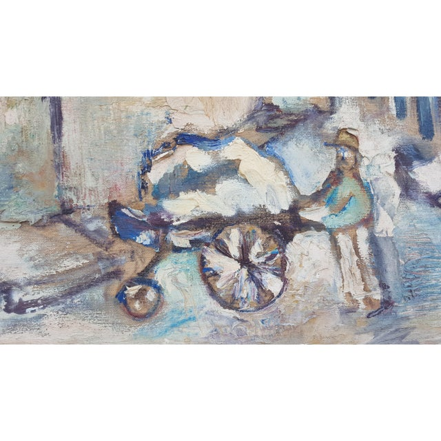 Oil Paint 1950's Technique Palette Impasto Cubist Abstract Oil on Canvas Painting For Sale - Image 7 of 10