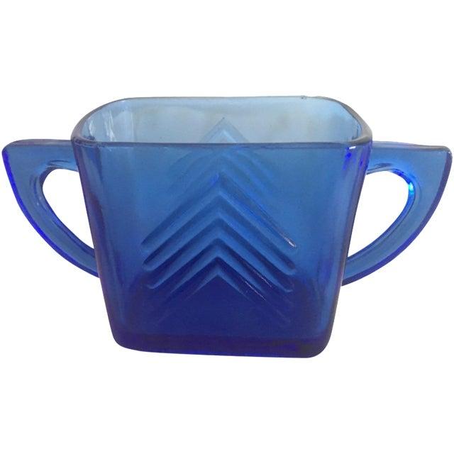1950s Blue Glass Arrow Mug - Image 1 of 3