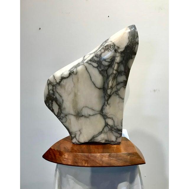 Modern Modernist Marble Sculpture on Walnut Plinth Base For Sale - Image 3 of 12