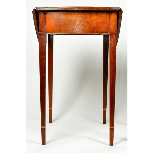 Satinwood Antique Cherry and Satinwood Banded Pembroke Side Tables - a Pair For Sale - Image 7 of 13