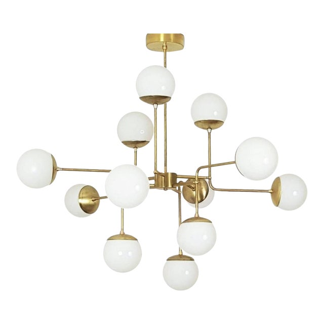 Classic Italian Modern Brass Chandelier With Glass Globes Model 420