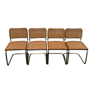 Italian Marcel Breuer for Cidue Mid-Century Modern Tubular Brass Cane Side Chairs - Set of 4