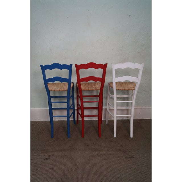French Country Rush Seat Bar Stools - Set of 3 - Image 4 of 10