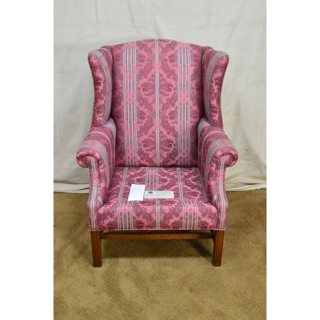 Ethan Allen Chippendale Style Cherry Clean Upholstered Wing Chair For Sale - Image 10 of 12