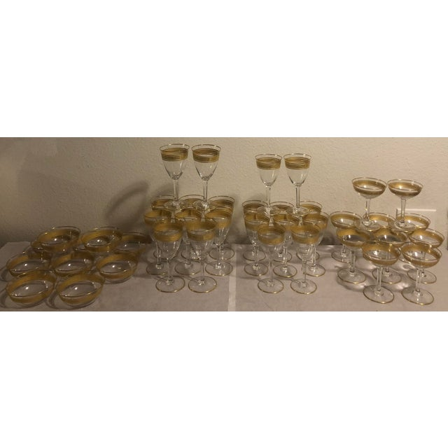 Mid 20th Century Baccarat French Gilt Crystal Directoire Style Glassware - Set of 40 For Sale - Image 13 of 13