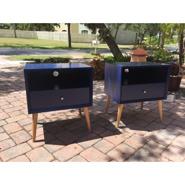 Modern Modern Blue Tapered Leg Nightstands - A Pair For Sale - Image 3 of 8