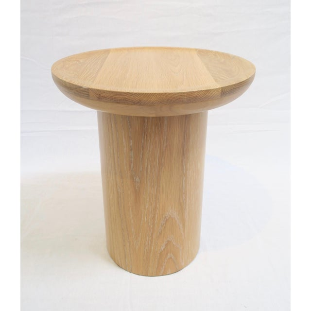 Tall Round Side Table With Pedestal Base in Cursed Oak by Martin and Brockett For Sale - Image 4 of 5