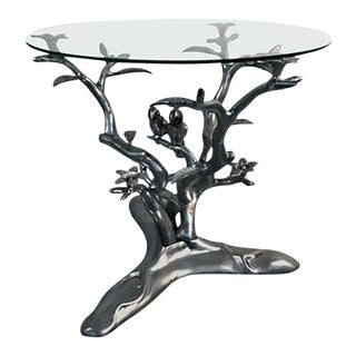 Giacometti Style Parrots Amongst Flowering Tree Table For Sale