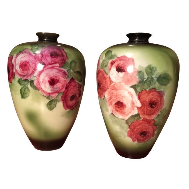 Vintage Porcelain Vases, Green With Roses - a Pair - Image 1 of 6