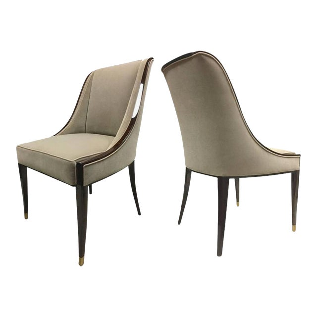 e.j. Ruhlmann Stamped Pair of Solid Macassar Chairs With Refined Details For Sale