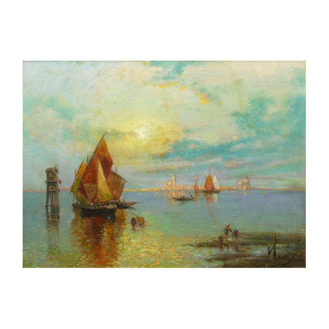 """""""View of Venice"""" Antique Oil Painting by Nicholas Briganti (American, 1861-1944) For Sale - Image 13 of 13"""