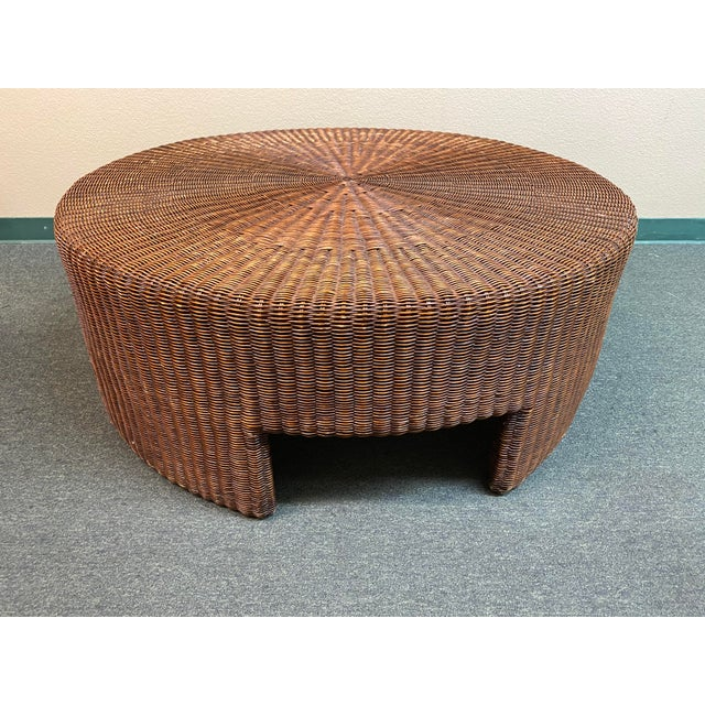 Coffee Hickory Chair Company Wicker Coffee Table For Sale - Image 8 of 8