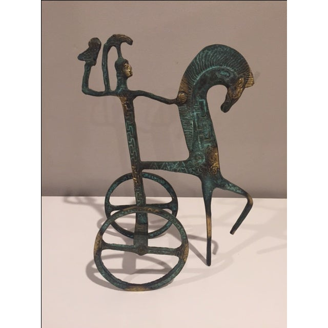 Antiqued Iron Horse & Chariot - Image 3 of 3
