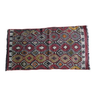 Vintage Turkish Table and Wall Decor Small Bath Kilim Rug,Handmade Doormats, Decorative Home Entrance Oriental Kelim 18''x 33'' / 46 X 84cm For Sale