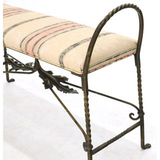 Figural Twisted Wrought Iron Window Bench Grape Leaf Motive Preview