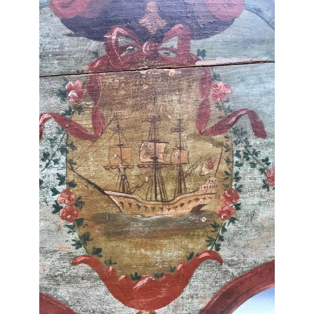 American 19th Century New England Hand Painted Wooden Headboard For Sale - Image 3 of 12