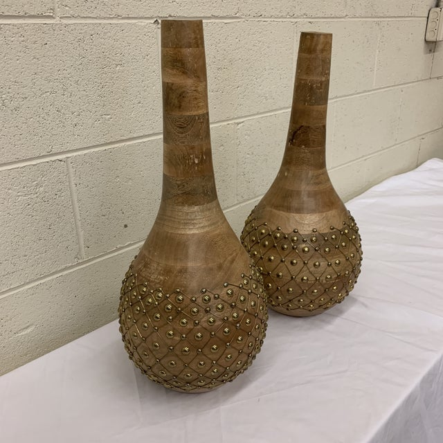 Islamic Moroccan Styles Wood & Brass Vases Jugs - a Pair For Sale - Image 3 of 13