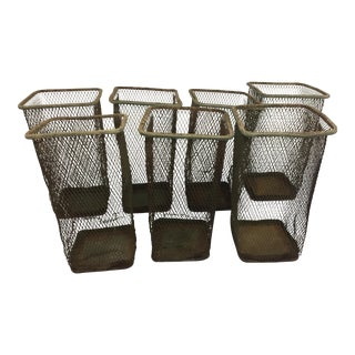 Vintage Industrial Wire Metal Waste Baskets - Set of 7 For Sale