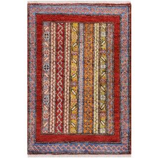 1980s Vintage Tribal Khurgeen Steffen Rust Wool Rug - 1′11″ × 2′11″ For Sale