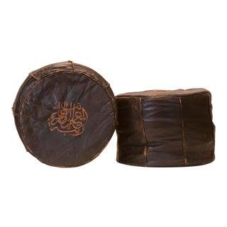 Vintage Mid-Century Moroccan Leather Poufs - A Pair For Sale