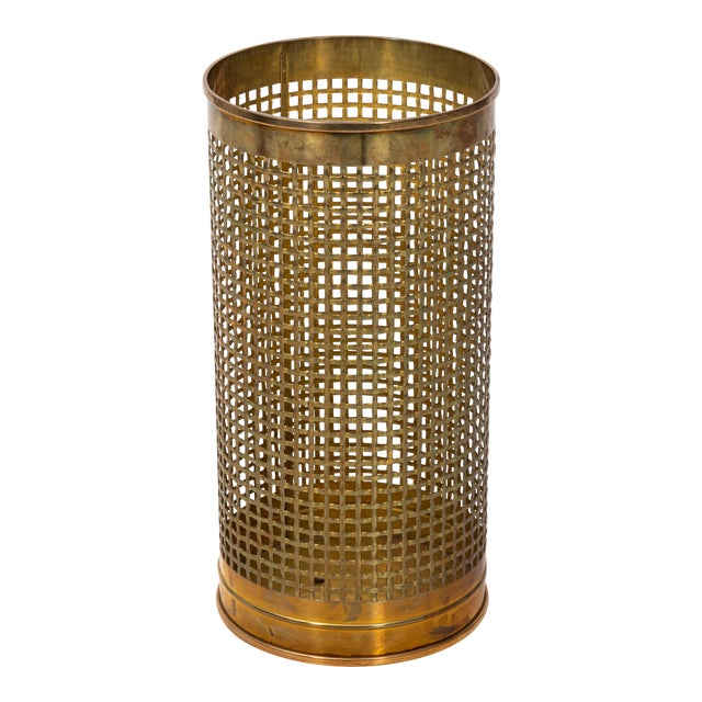 Solid Brass Basket Weave Umbrella Stand For Sale