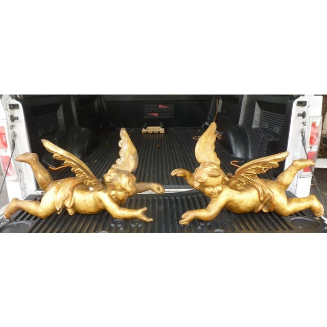 19th Century Baroque Gilt Angels With Wings - a Pair For Sale - Image 12 of 12
