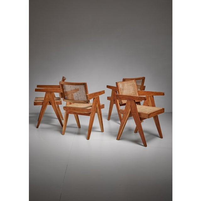 1950s Pierre Jeanneret Chandigarh set of four High Court V-leg chairs, 1950s For Sale - Image 5 of 5