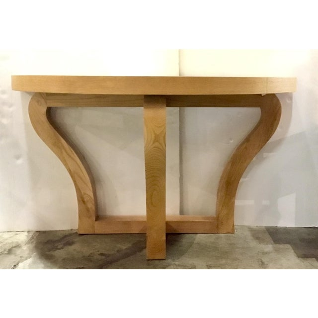 Prime Modern Light Oak Finished Demi Lune Console Table Gmtry Best Dining Table And Chair Ideas Images Gmtryco