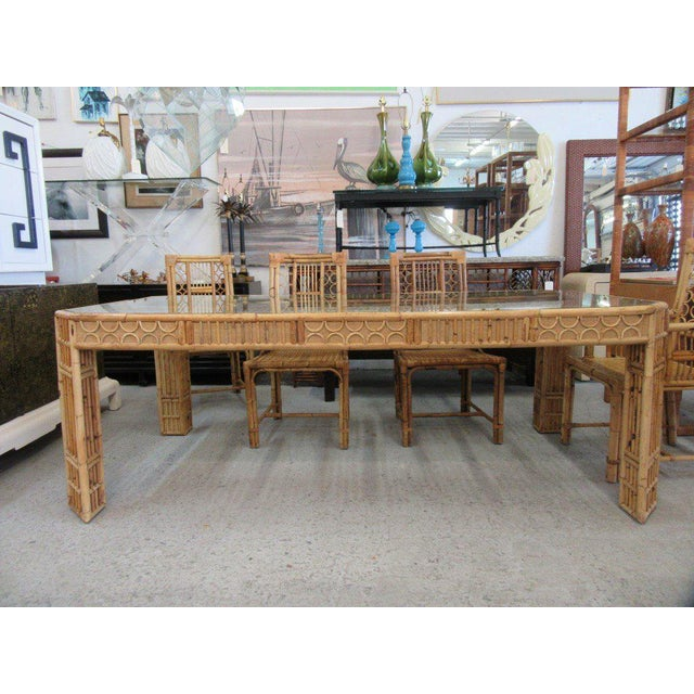 Bamboo & Seagrass Fretwork Dining Table - Image 6 of 11