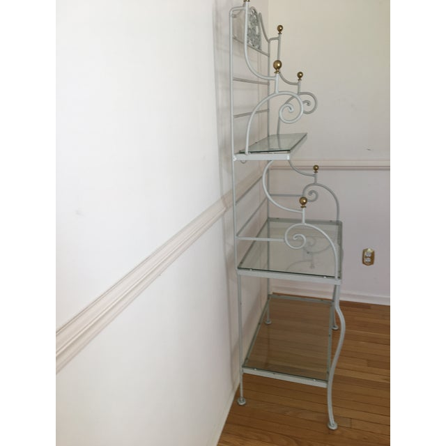 Mid-Century Modern 1960's Vintage Woodard White Bakers Rack For Sale - Image 3 of 7