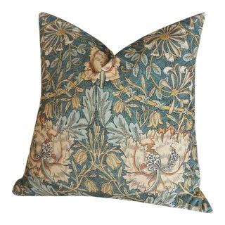Velvet William Morris Acanthus Pillow Cover 18x18 For Sale