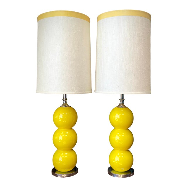 1960s Mid-Century Modern Sonneman Kovaks Yellow Stacked Ball Ceramic Lamps with Original Shades - a Pair For Sale
