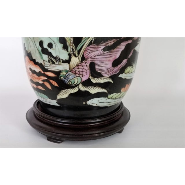Vintage Chinese Porcelain Famille Noire Lamp For Sale - Image 9 of 12