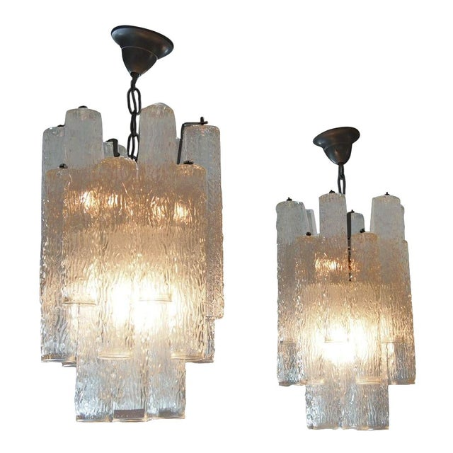 Italian Mid-Century Glass Chandeliers - A Pair - Image 1 of 2