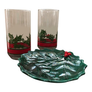 Vintage Mid-Century Holly Glasses and Dish - Set of 3 For Sale