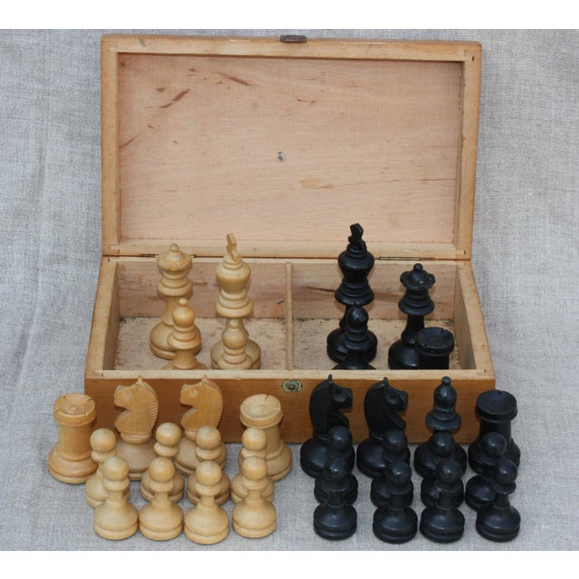 Vintage Wood Chess Set - Image 2 of 4