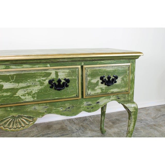 1960's Queen Anne Style 3-Drawers Green Console Table For Sale - Image 10 of 12
