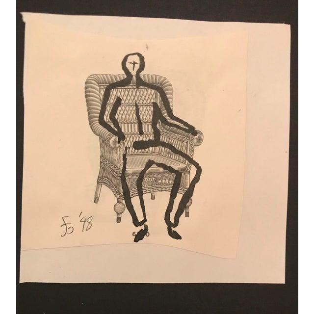 1990s Modern Male Figure in Victorian Wicker Chair Drawing