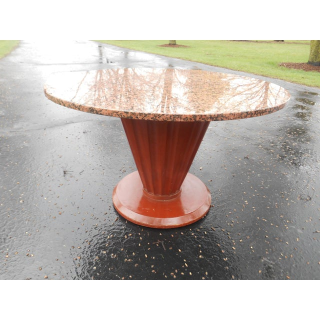 Awesome vintage French Art Deco large round marble top coffee or cocktail table in excellent pre-owned condition. The...
