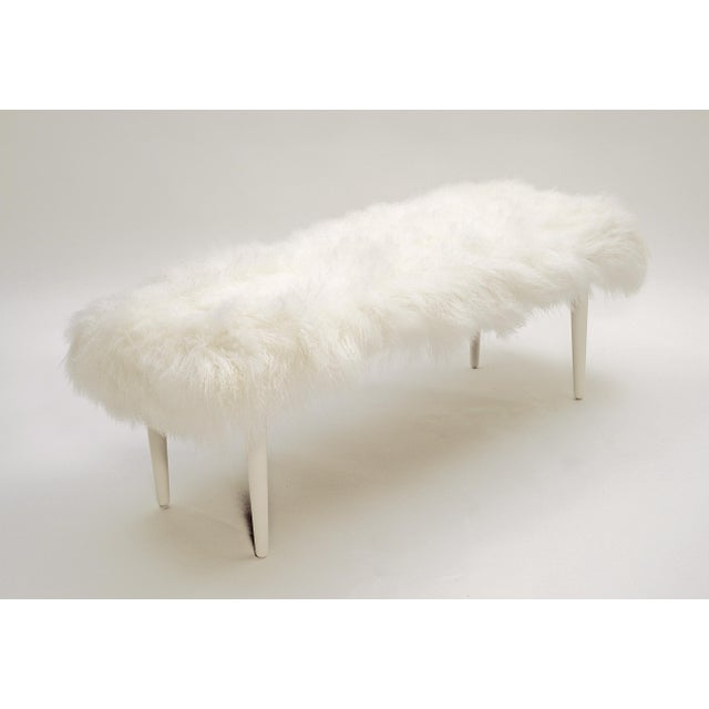 """Curly Adolfo 60"""" Bench Bright White Made of Tibetan Lamb Please allow 4 weeks before the item ships."""