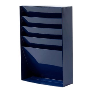 1960s Retro Steel File Holder/ Magazine Rack/ Mail Organizer, Refinished in Midnight Blue For Sale