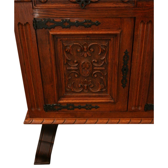 Renaissance 1950s French Renaissance-Style Oak Sideboard For Sale - Image 3 of 8
