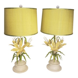 1950s Yellow Italian Lily Lamps With Shades - a Pair For Sale