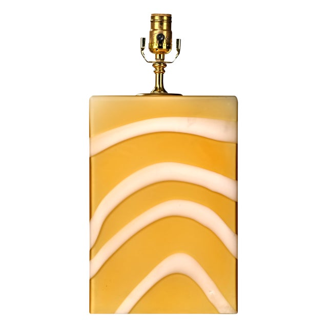 Mid-Century Modern Murano Glass Yellow and White Cube Table Lamp For Sale